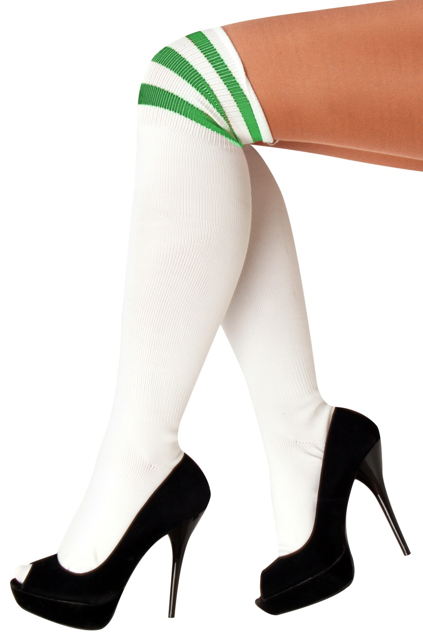 Lieskousen wit  met 3 groene strepen 36/41 1