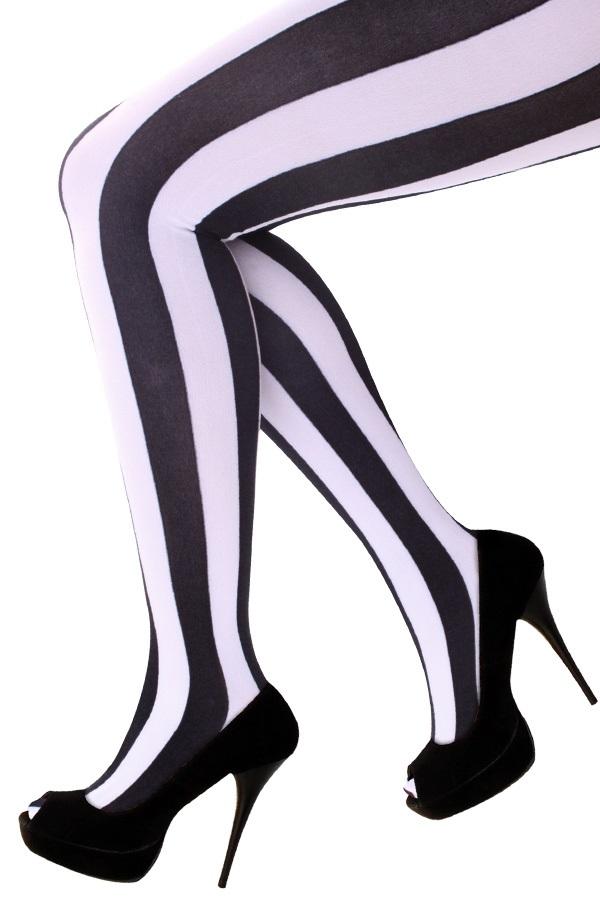 Panty verticale strepen zwart/wit one size 1