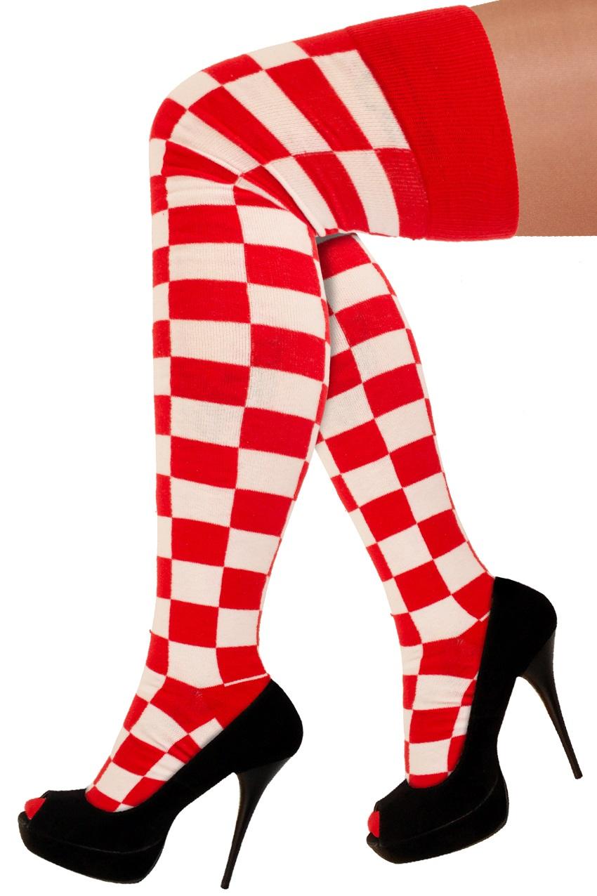Lange sokken rood/wit geblokt 1