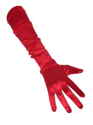 Handschoenen satijn rood 48 cm 1