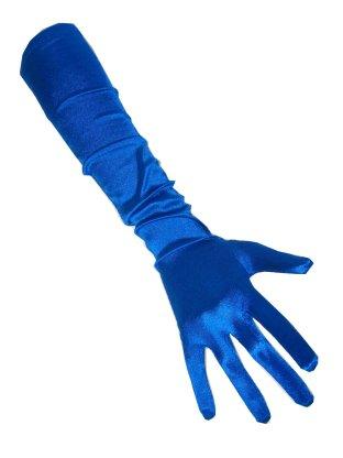 Handschoenen satijn blauw 48 cm 1