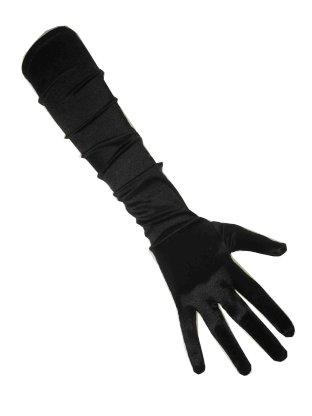Handschoenen satijn zwart 48 cm 1