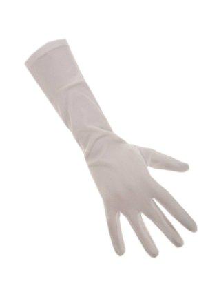 Handschoenen stretch wit luxe nylon 35 cm