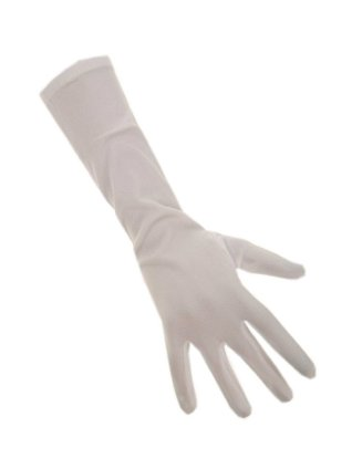 Handschoenen stretch wit luxe nylon 37 cm 1