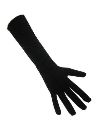 Handschoenen stretch zwart luxe nylon 30 cm