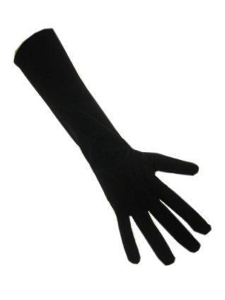 Handschoenen stretch zwart luxe nylon 32 cm. (Piet)