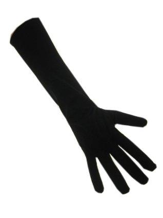 Handschoenen stretch zwart luxe nylon 37 cm