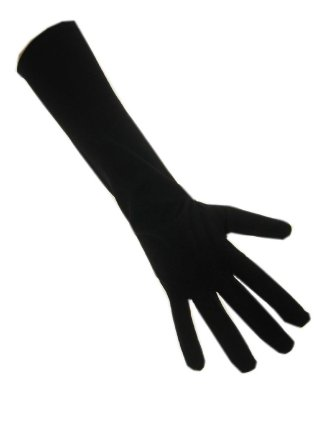 Handschoenen stretch zwart luxe nylon 45 cm. (Piet)