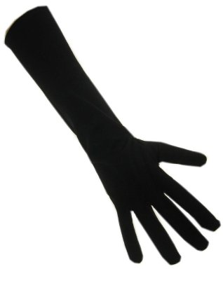 Handschoenen stretch zwart luxe nylon 50 cm. (Piet)