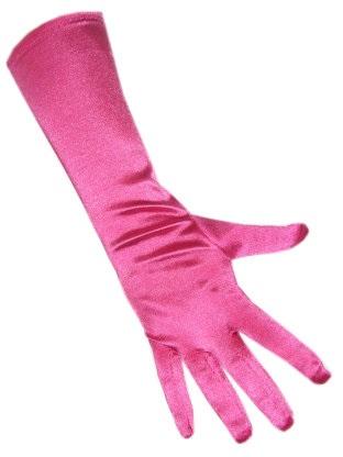 Handschoenen satijn stretch luxe 40 cm hard roze one size 1