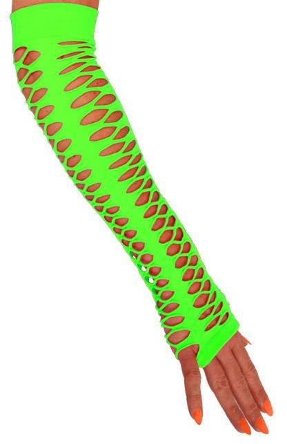 Handschoenen vingerloos grote gaten fluor groen 40 cm 1