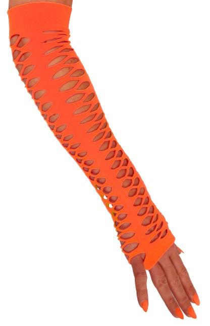 Handschoenen vingerloos grote gaten oranje 40 cm  1