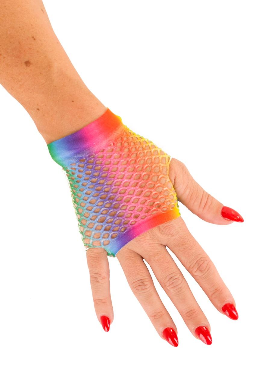 Nethandschoen kort vingerloos regenboog 1