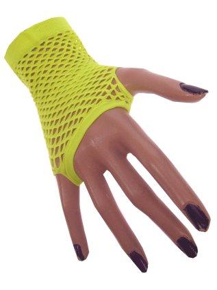 Nethandschoen kort vingerloos fluor geel 1