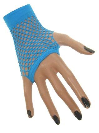 Nethandschoen kort vingerloos fluor blauw 1