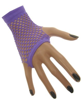 Nethandschoen kort vingerloos fluor paars 1