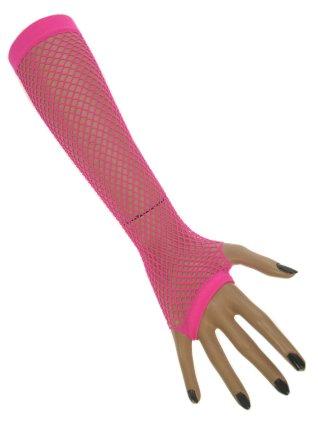 Nethandschoenen lang vingerloos fluor pink 1