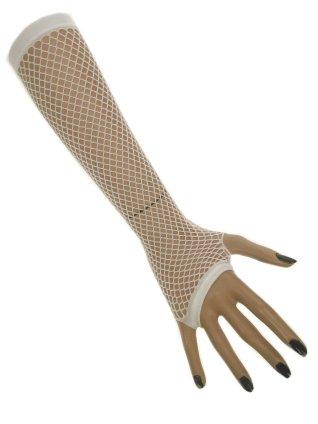 Nethandschoenen lang vingerloos wit 1