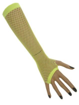 Nethandschoenen lang vingerloos fluor geel 1