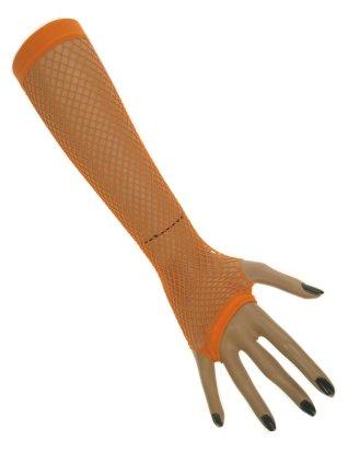 Nethandschoenen lang vingerloos fluor oranje 1