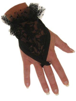 Vingerhandschoen kort zwart + lusje 1