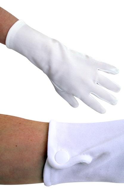 Handschoen wit kort met drukknoopjes katoen 1