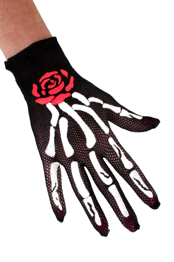 Nethandschoenen botten met roos 1