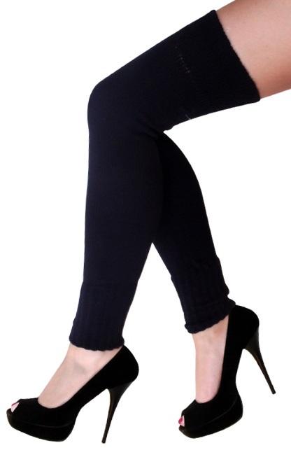 Dames knee-over beenwarmers zwart 1