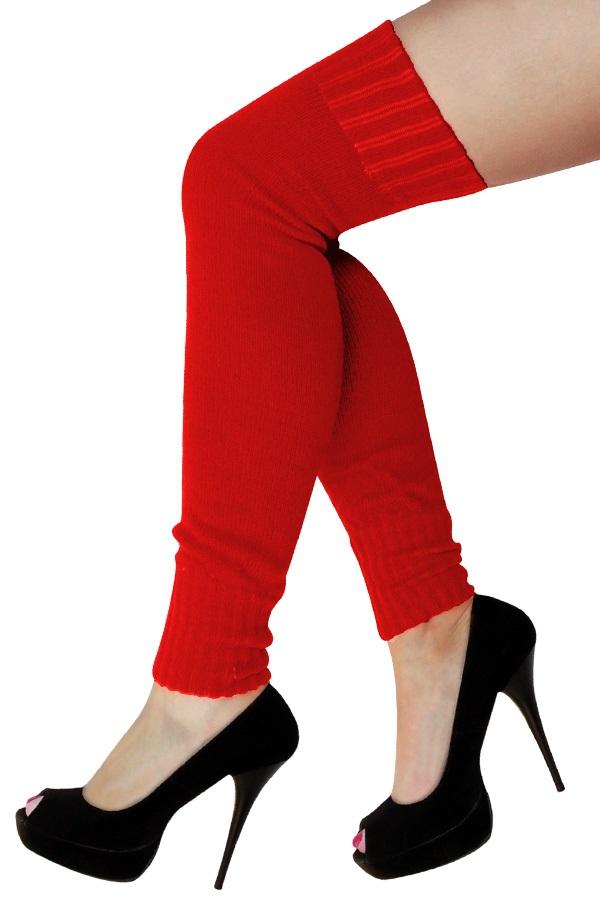 Dames knee-over beenwarmers rood 1