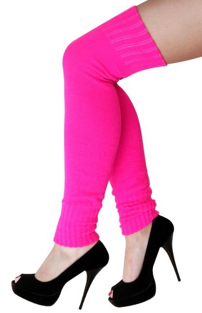 Dames knee-over beenwarmers fluor pink 1