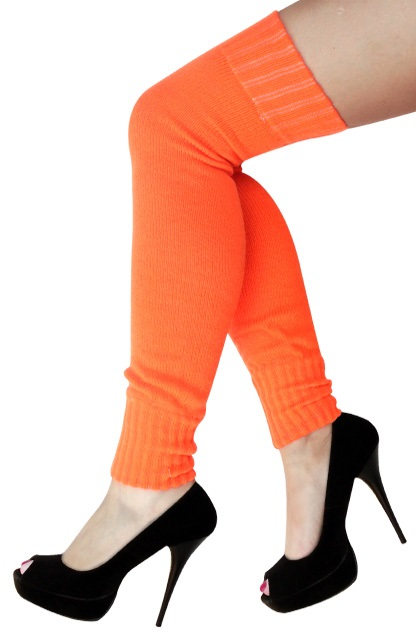 Dames knee-over beenwarmers fluor oranje 1