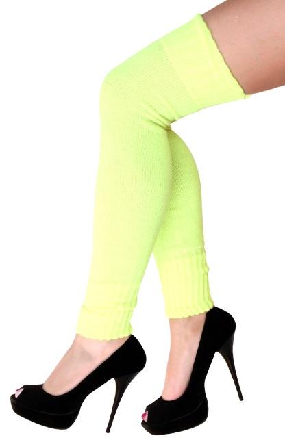 Dames knee-over beenwarmers fluor geel 1