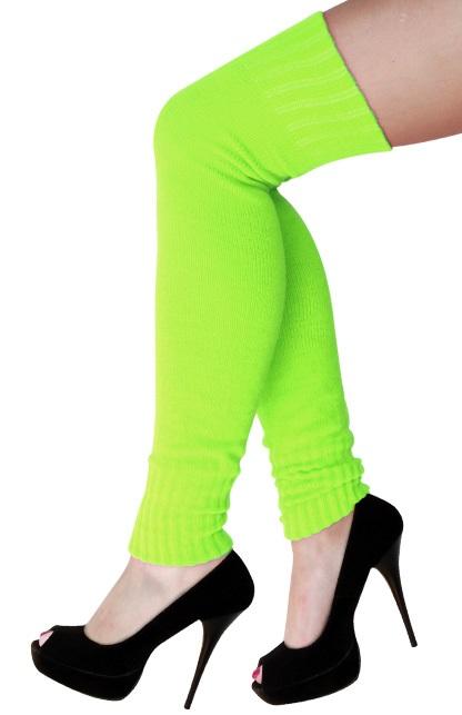 Dames knee-over beenwarmers fluor groen 1
