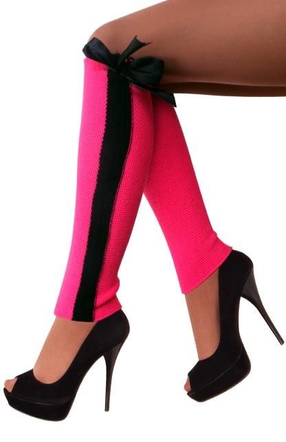 Beenwarmers fijn pink met zwarte streep en strik 1