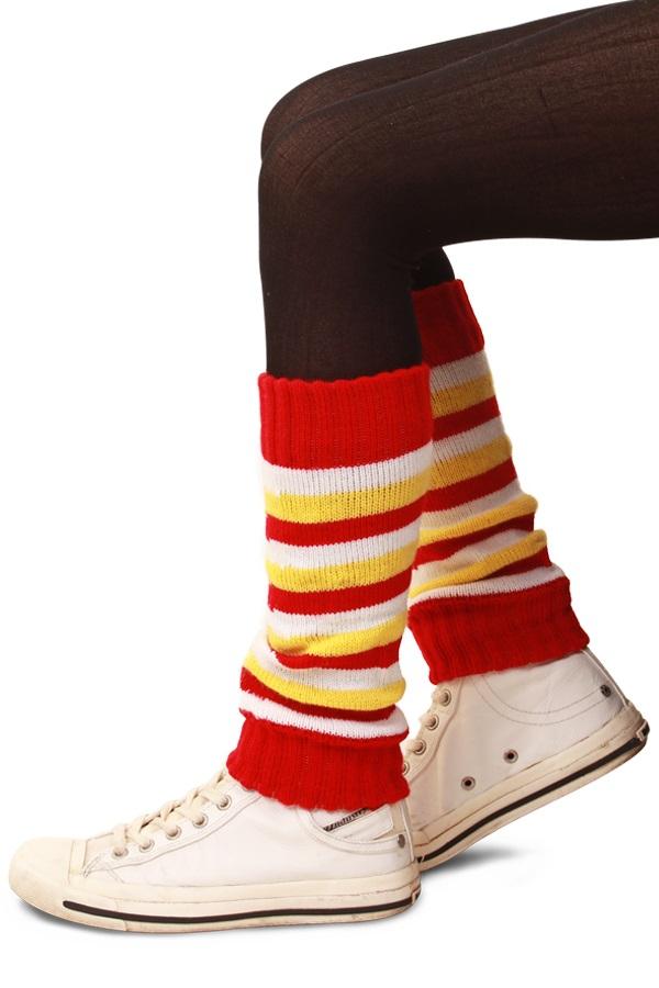 Beenwarmers rood/wit/geel voor kinderen