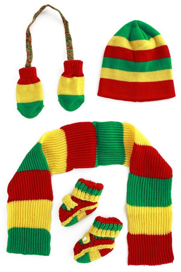 Gebreide babyset rood/geel/groen