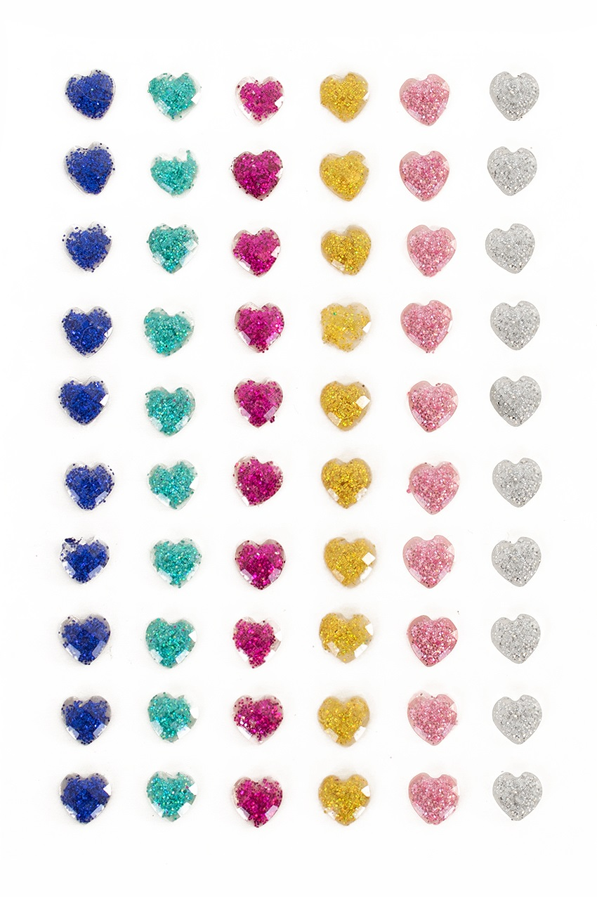 PXP Professional Colours Decoratiestickers hartje glitter 60 stuks assorti 1