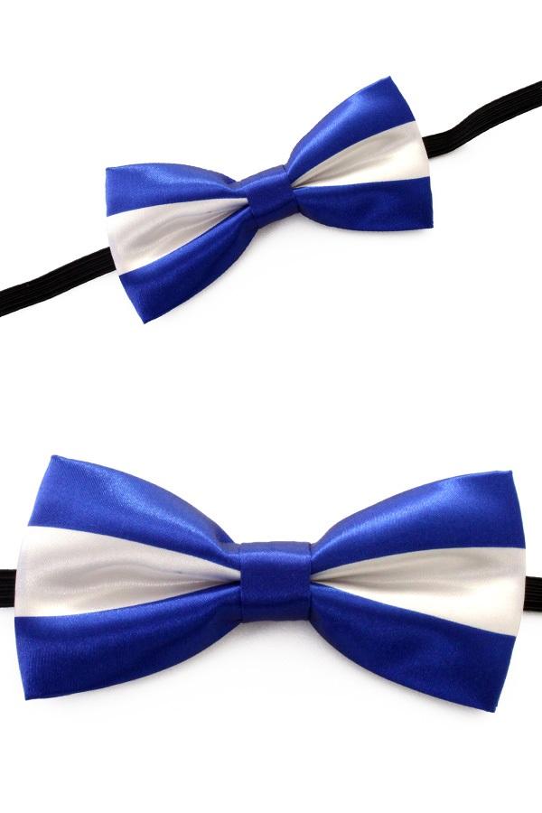 Strik luxe blauw/wit 1