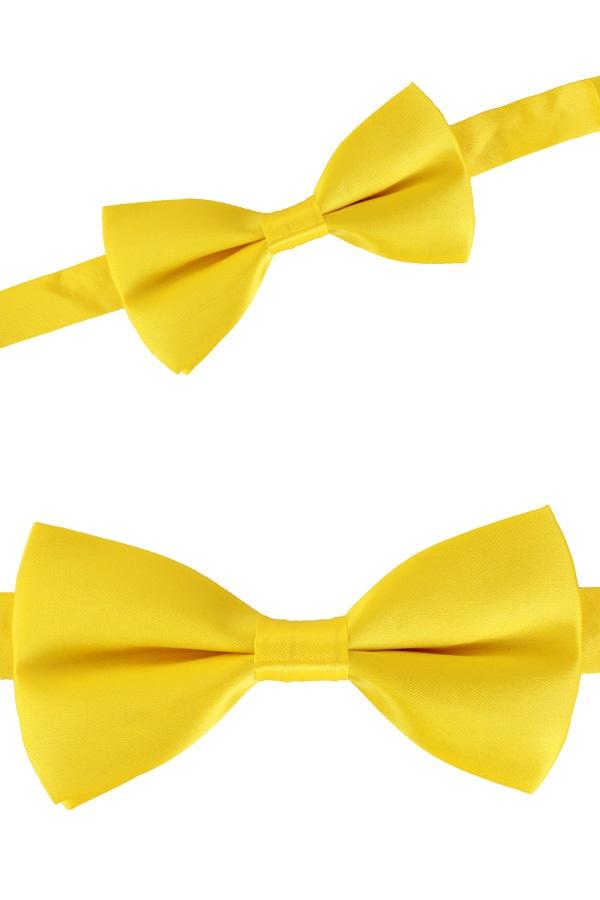 Luxe strik satijn geel 12 x 6