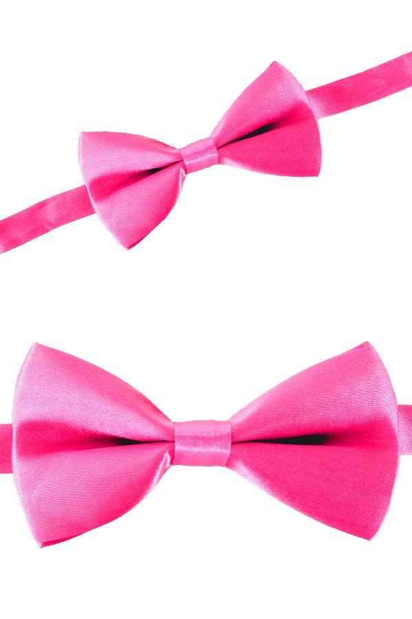 Luxe strik satijn pink 12 x 6