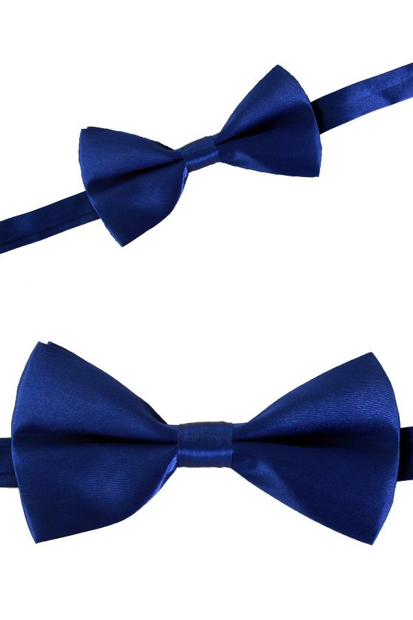 Luxe strik satijn blauw 12 x 6