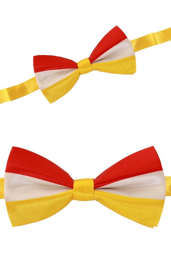 Luxe strik rood/wit/geel 12 x 6