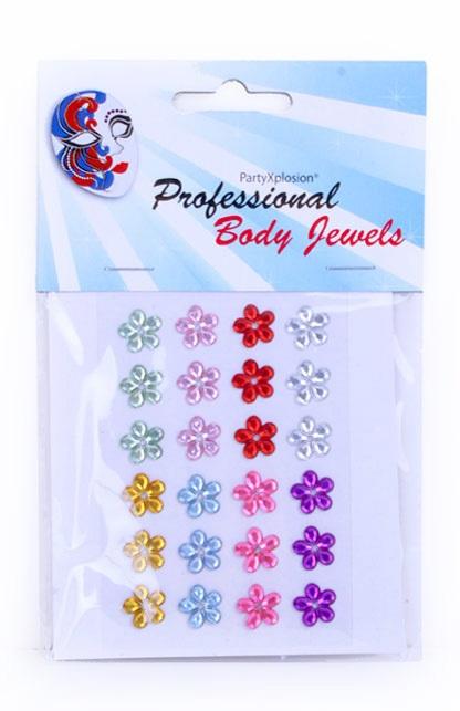Decoratiestickers 24 bloemetjes 10 mm ass kleuren op kaart 1