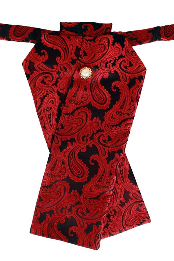 Plastron deluxe zwart/rood