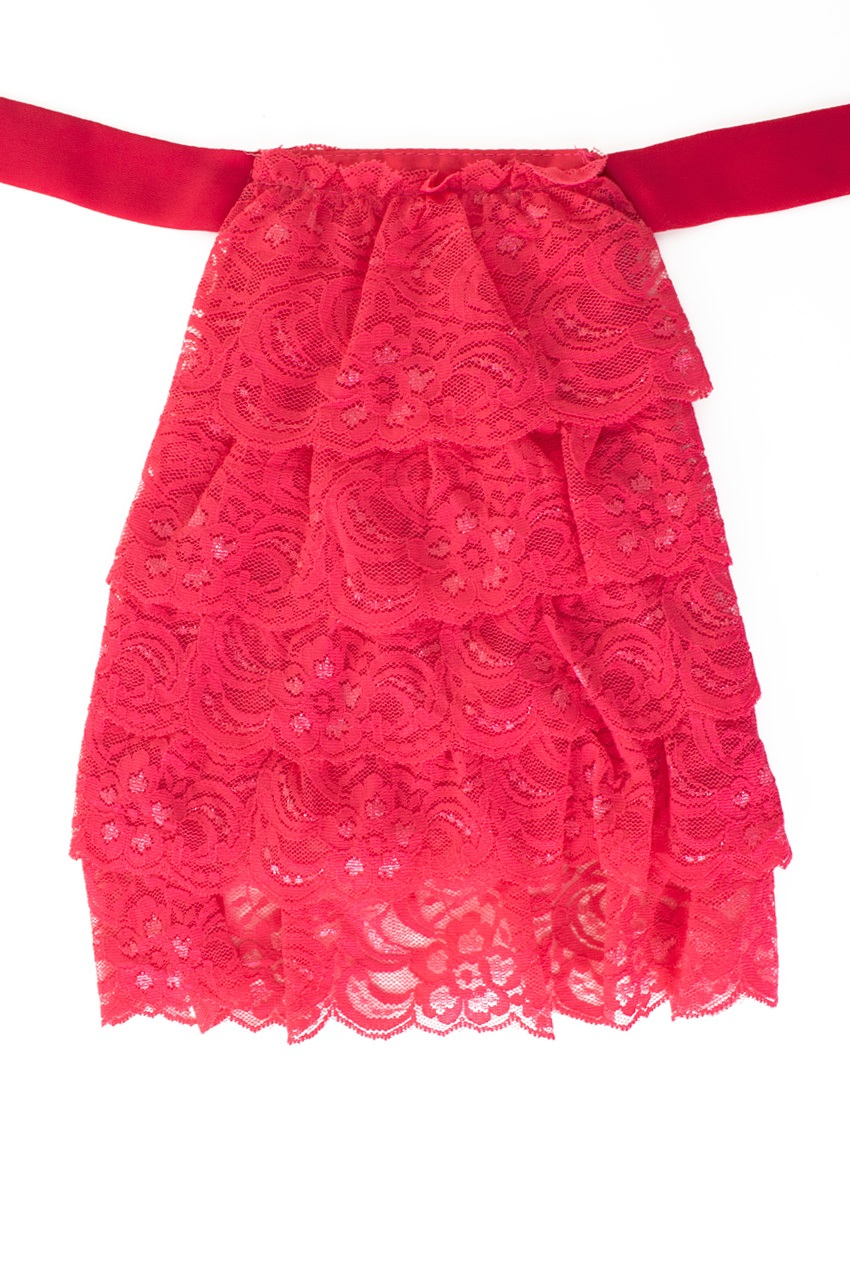 Jabot kant luxe roze