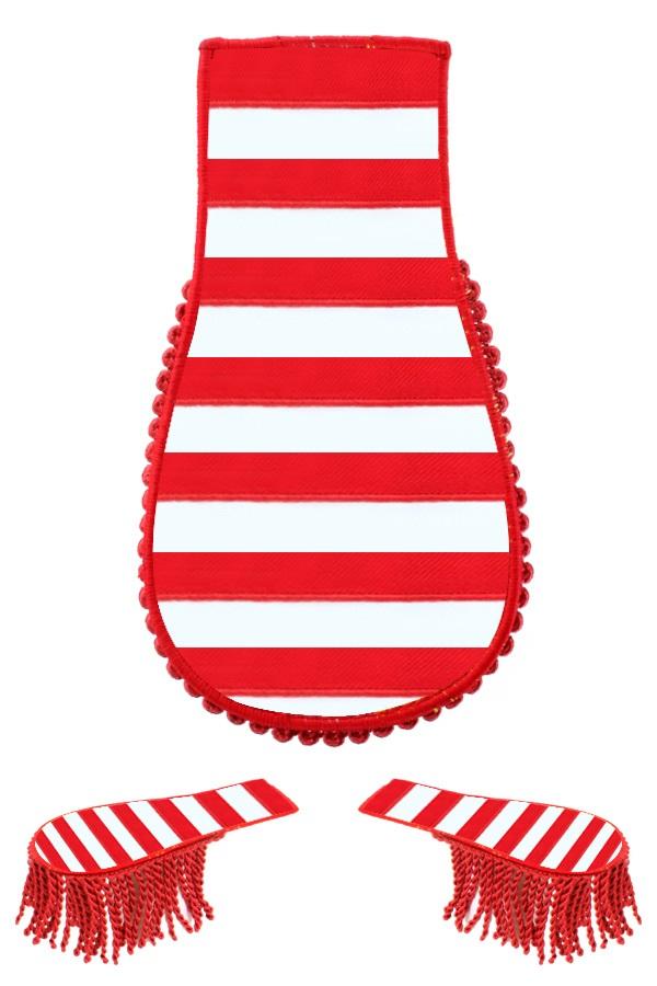 Set schouder epaulette rood-wit gestreept 1