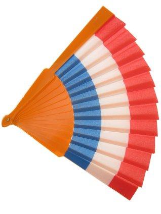 Waaier rood/wit/blauw/oranje 27 cm.
