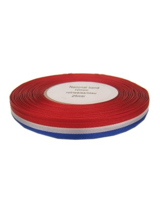 Medaille lint rood/wit/blauw 25 mtr op rol 10 mm 1