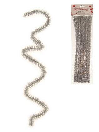 Chenille draadjes per 50 zilver 30cm 1
