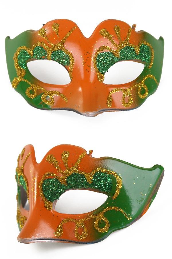 Mini deco oogmasker oranje /groen met glitters 1